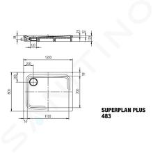 Kaldewei Avantgarde - Sprchová vanička Superplan Plus 483-1, 800x1200 mm, Perl-Effekt, bílá 470800013001