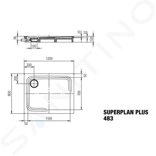 Kaldewei Avantgarde - Sprchová vanička Superplan Plus 483-1, 800x1200 mm, celoplošný antislip, Perl-Effekt, bílá 470830023001