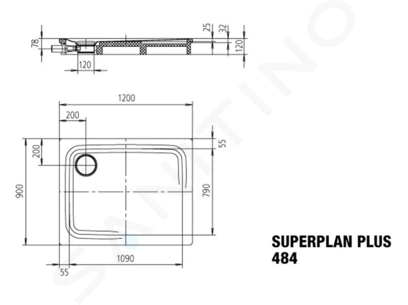 Kaldewei Avantgarde - Sprchová vanička Superplan Plus 484-1, 900x1200 mm, Perl-Effekt, bílá 470900013001