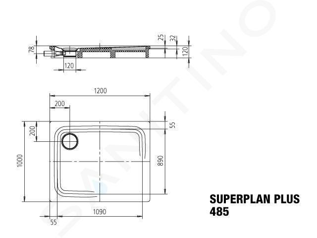 Kaldewei Avantgarde - Sprchová vanička Superplan Plus 485-1, 1000x1200 mm, bílá 471000010001