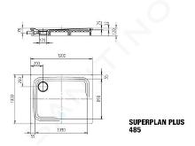 Kaldewei Avantgarde - Sprchová vanička Superplan Plus 485-1, 1000x1200 mm, celoplošný antislip, Perl-Effekt, bílá 471030023001