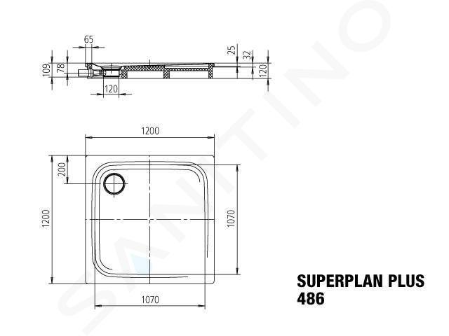Kaldewei Avantgarde - Sprchová vanička Superplan Plus 486-1, 1200x1200 mm, celoplošný antislip, Perl-Effekt, bílá 471130023001