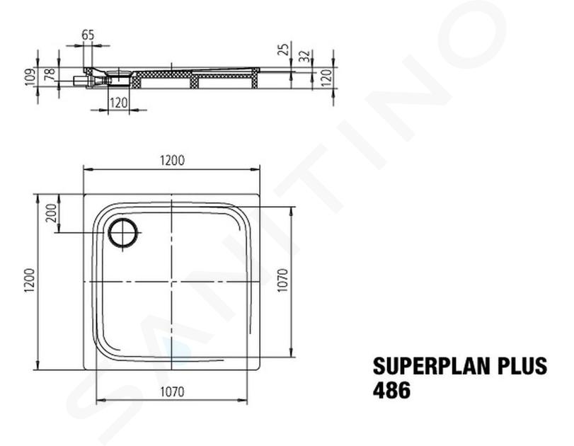 Kaldewei Avantgarde - Sprchová vanička Superplan Plus 486-2, 1200x1200 mm, polystyrénový nosič, bílá 471148040001