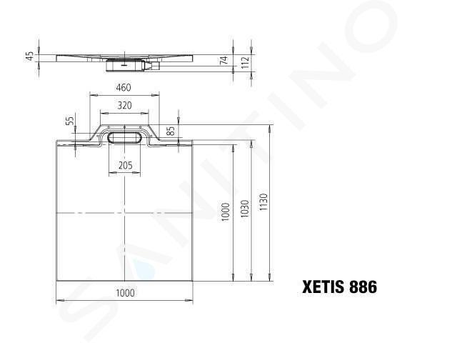 Kaldewei Avantgarde - Sprchová vanička Xetis 886, 1000x1000 mm, celoplošný antislip, Perl-Effekt, bílá 488630023001
