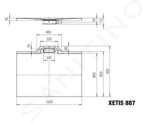 Kaldewei Avantgarde - Sprchová vanička Xetis 887, 800x1200 mm, celoplošný antislip, bílá 488730020001