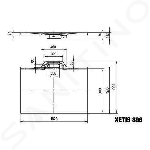 Kaldewei Avantgarde - Sprchová vanička Xetis 896, 900x1800 mm, bílá 489600010001