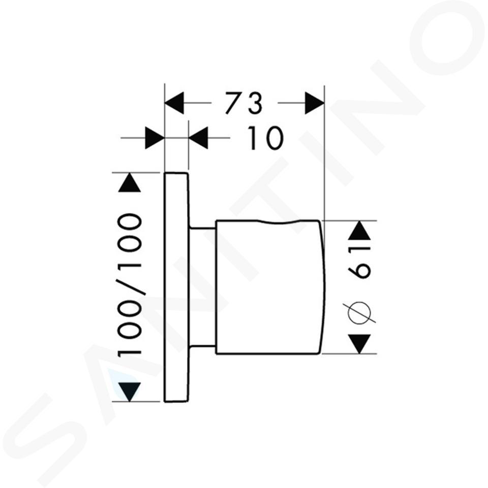 Axor Citterio M - Trio/Quattro, ventil pod omítku, chrom 34920000