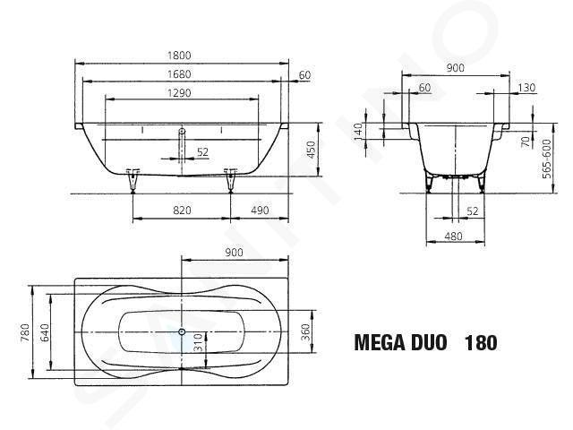 Kaldewei Avantgarde - Vana Mega Duo 180, 1800x900 mm, s otvory pro madlo, antislip, Perl-Effekt, bílá 223410223001
