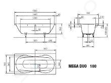 Kaldewei Avantgarde - Vana Mega Duo 180, 1800x900 mm, s otvory pro madlo, celoplošný antislip, Perl-Effekt, bílá 223410213001