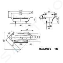 Kaldewei Avantgarde - Vana Mega Duo 6 182, 2140x900 mm, s otvory pro madlo, Perl-Effekt, bílá 223610113001