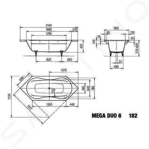 Kaldewei Avantgarde - Vana Mega Duo 6 182, 2140x900 mm, Perl-Effekt, celoplošný antislip, bílá 223634013001