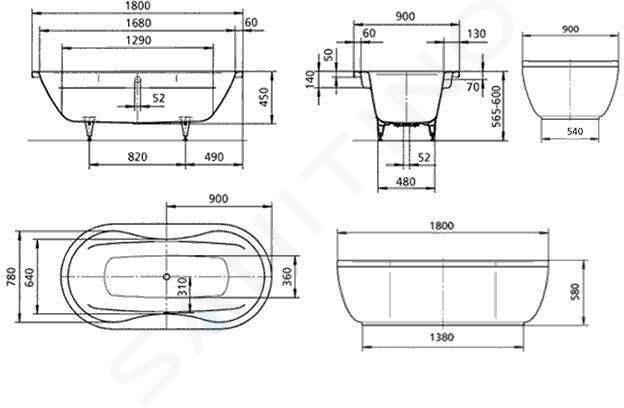 Kaldewei Avantgarde - Vana Mega Duo Oval 184, 1800x900 mm, bílá 223800010001