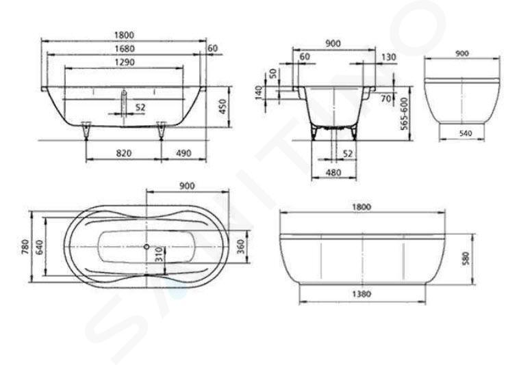 Kaldewei Avantgarde - Vana Mega Duo Oval 184, 1800x900 mm, s otvory pro madlo, bílá 223810110001