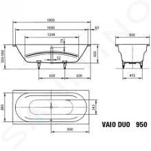 Kaldewei Ambiente - Vana Vaio Duo 950, 1800x800 mm, Perl-Effekt, bílá 233000013001