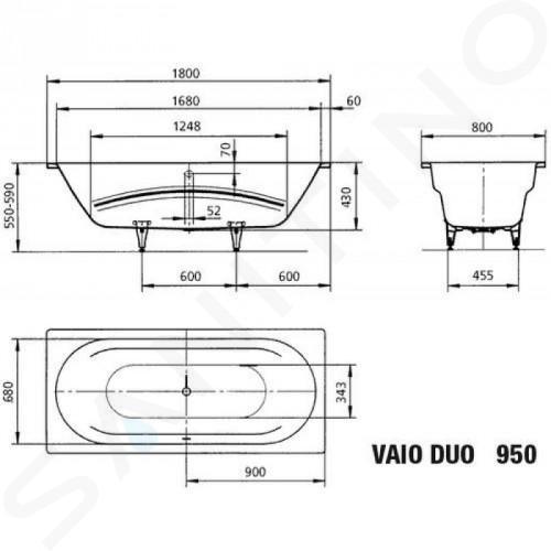 Kaldewei Ambiente - Vana Vaio Duo 950, 1800x800 mm, Perl-Effekt, antislip, bílá 233030003001