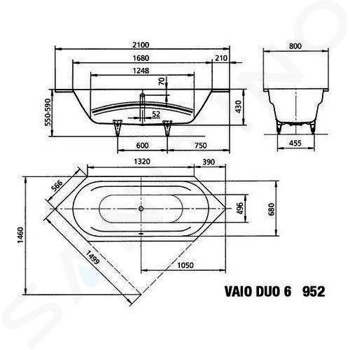 Kaldewei Ambiente - Vana Vaio Duo 6 952, 2100x800 mm, bílá 233200010001