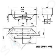 Kaldewei Ambiente - Vana Vaio Duo 6 952, 2100x800 mm, Perl-Effekt, celoplošný antislip, bílá 233234013001