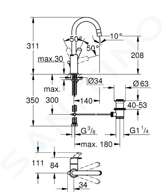 Grohe Eurosmart - Páková umyvadlová baterie L, chrom 23537002