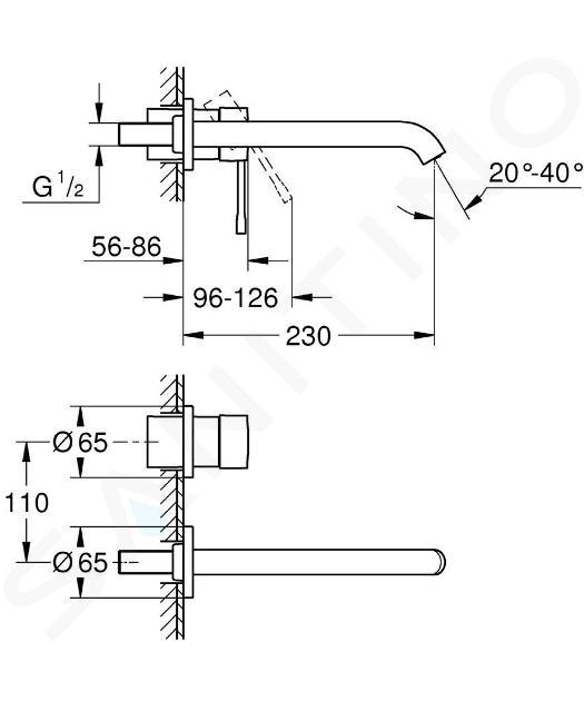 Grohe Essence - 2-gats inbouw wastafelkraan, chroom 19967001