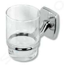 Novaservis Orfeus - Supporto per spazzolino con bicchiere, cromo/vetro 6906,0