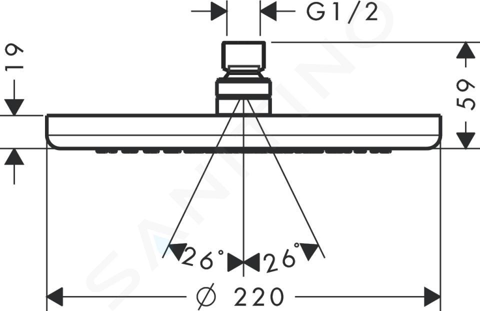 Hansgrohe Croma 220 - Hoofddouche, 1jet, lage druk, chroom 26734000