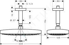 Hansgrohe Raindance Select E - Douche de tête 300 2 jets avec arrivée depuis le plafond 100 mm, EcoSmart, blanc/chrome 26608400