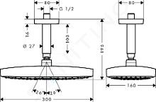 Hansgrohe Raindance Select E - Hlavová sprcha 300 2jet s přívodem od stropu 100 mm, EcoSmart, chrom 26608000