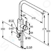 Kludi L-ine S - Spültisch Einhebelmischer mit ausziehbarem Auslauf, chrom / mattweiß 408519375
