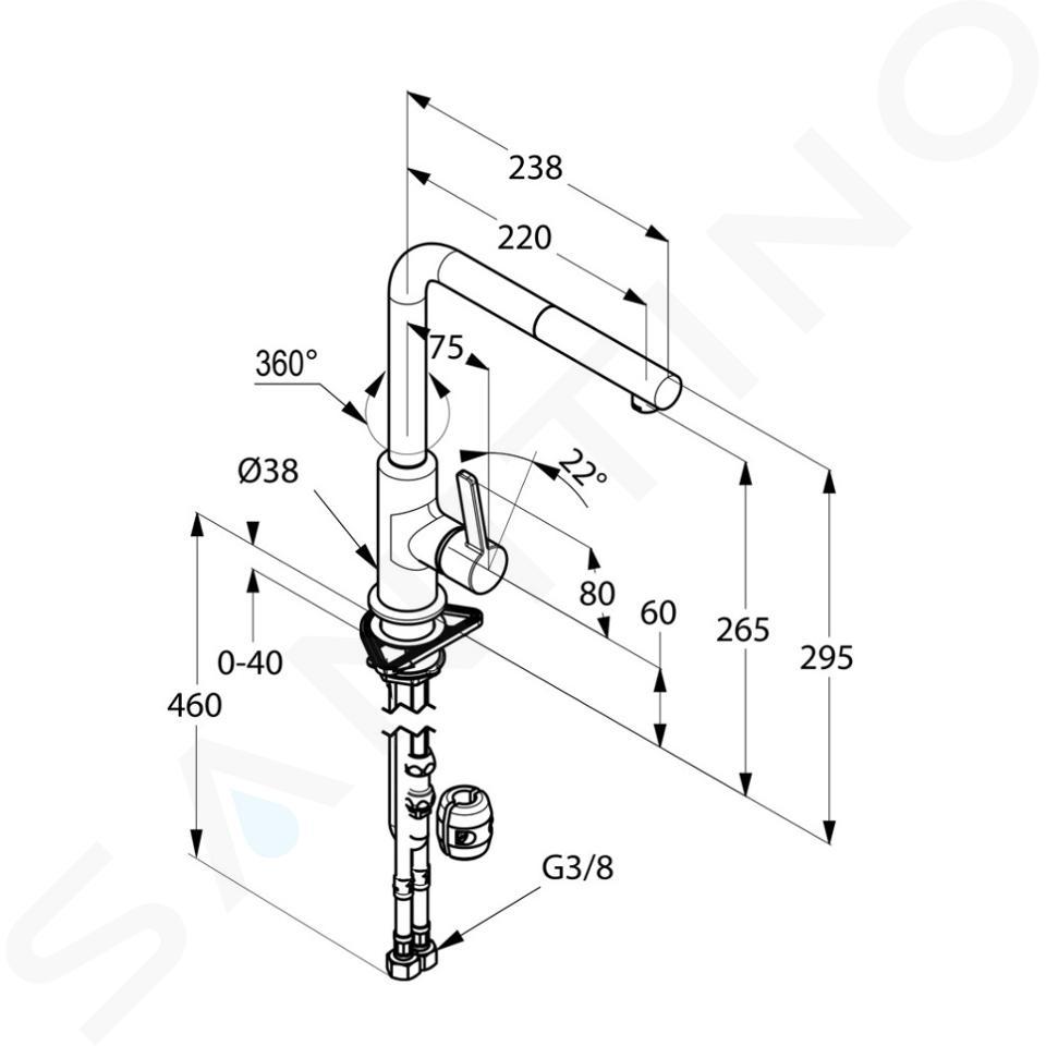 Kludi L-ine S - Spültisch Einhebelmischer mit ausziehbarem Auslauf, chrom / mattschwarz 408518775