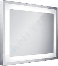 Nimco Zrkadlá - Kúpeľňové podsvietené LED zrkadlo série 6000, 800 x 600 mm, hranaté, svietiace po obvode, alumínium ZP 6001
