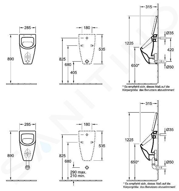 Villeroy & Boch Subway - Urinoir à action siphonique, sans couvercle, CeramicPlus, blanc alpin 751300R1