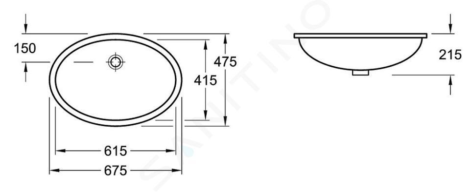 Villeroy & Boch Evana - Onderbouwastafel met overloop, 615x415 mm, wit 61440001