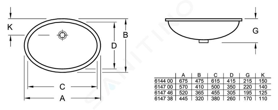 Villeroy & Boch Evana - Waschbecken ohne Hahnloch, 500 x 350 mm, Weiß, mit Überlauf 61470001