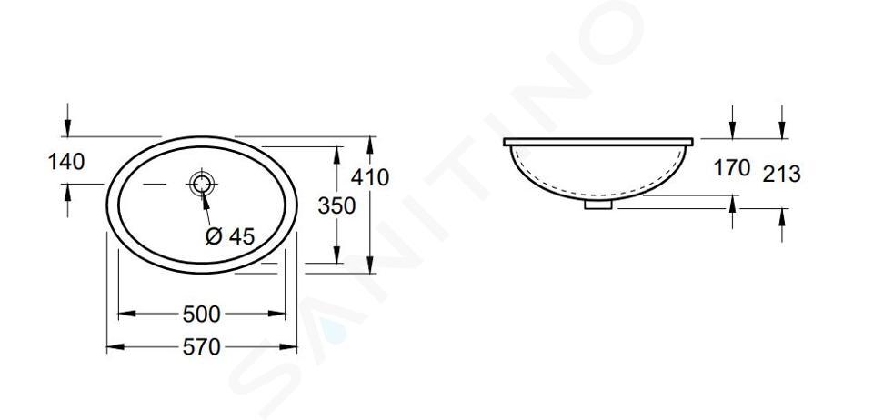 Villeroy & Boch Evana - Vasque sans trou à encastrer par dessous, 500x350 mm, avec CeramicPlus 614700R1