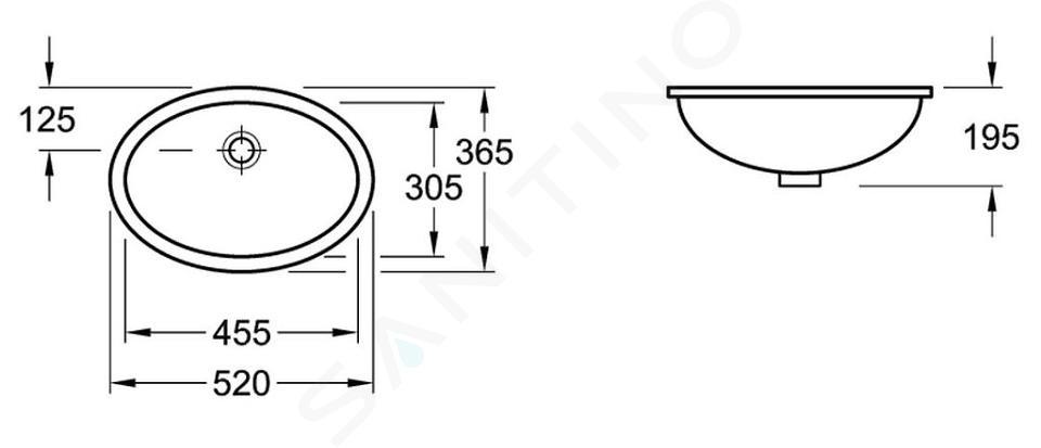 Villeroy & Boch Evana - Wastafel met overloop zonder kraangat, 455 mm x 305 mm 61474601