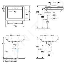 Villeroy & Boch Hommage - Waschbecken mit Überlauf, 750 mm x 580 mm, Weiß - 1 Hahnloch 710175R1