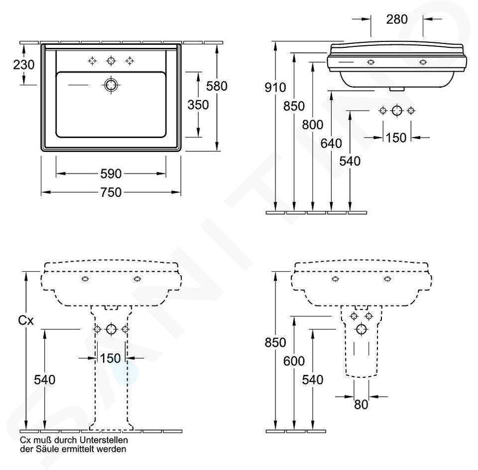 Villeroy & Boch Hommage - Lavabo avec trop-plein, 750 mm x 580 mm, avec Ceramicplus, blanc - lavabo trois trous 7101A1R1