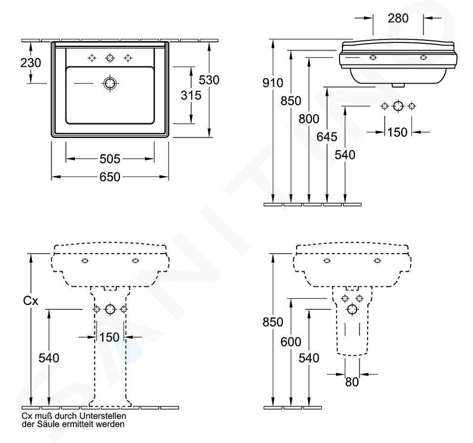 Villeroy & Boch Hommage - Wastafel met overloop, 650 mm x 530 mm, met Ceramicplus, wit - 1-gats wastafel 710165R1