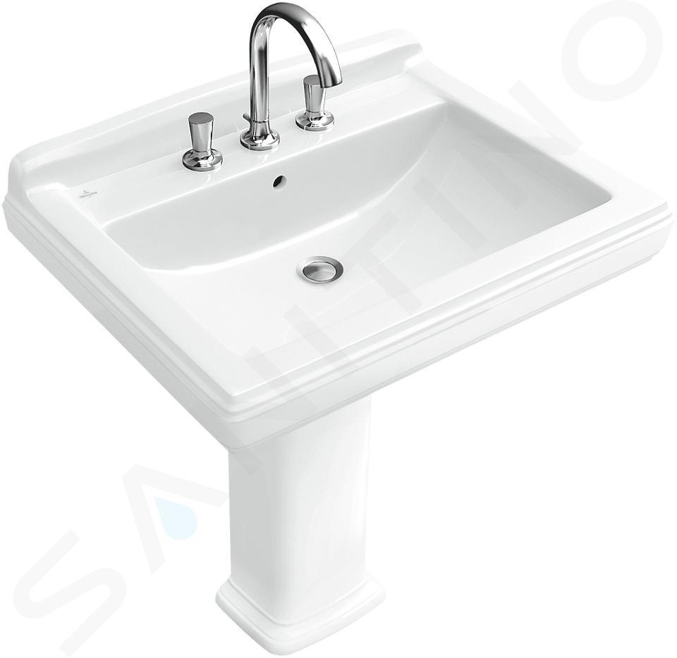 Villeroy & Boch Hommage - Waschbecken mit Überlauf, 650 mm x 530 mm, CeramicPlus, Weiß - 3 Hahnlöchern 7101A2R1