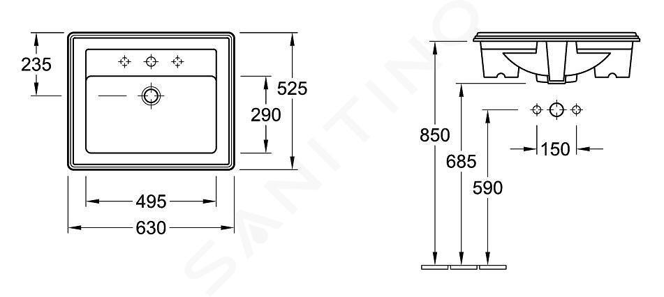 Villeroy & Boch Hommage - Waschbecken mit Überlauf, 630 mm x 525 mm, CeramicPlus, Weiß - 1 Hahnloch 710263R1