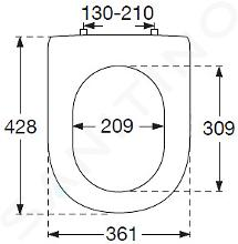 Villeroy & Boch Hommage - WC Sitz mit Deckel, mit CeramicPlus, Weiß - Sitz, Messigscharniere 8809S6R1