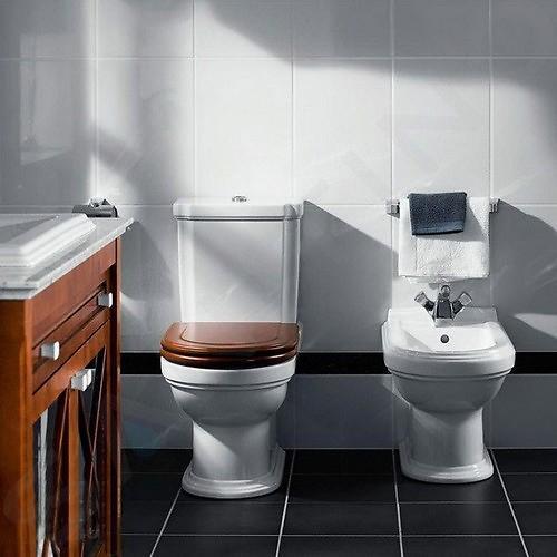 Villeroy & Boch Hommage - WC Sitz mit Deckel, Holz - Sitz, Messigscharniere 9926K600