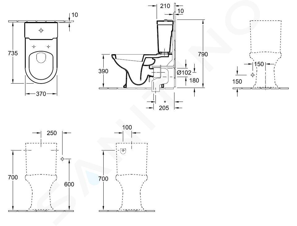 Villeroy & Boch Hommage - Cuvette à poser à installer avec réservoir, 370 mm x 725 mm, avec CeramicPlus, blanc 666210R1