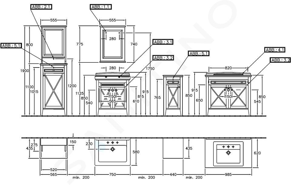 Villeroy & Boch Hommage - Badkamer zijkast, 440 mm x 850 mm x 425 mm, massief esdoorn, walnoot gebeitst - kast, scharnieren links 89641001