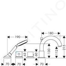 Axor Uno - Termostatická 4-otvorová baterie, chrom 38461000