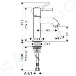 Hansgrohe Talis Classic - Miscelatore monocomando 80 per lavabo, senza sistema di scarico, cromato 14118000