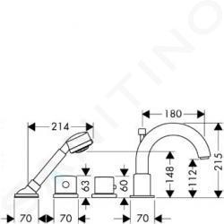 Axor Uno - Termostatická 4-otvorová baterie na sokl, chrom 38466000