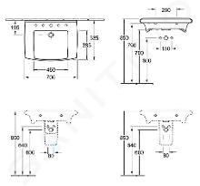 Villeroy & Boch Lifetime - Waschbecken, 700 mm x 535 mm, Weiß - 1 Hahnloch, mit Überlauf 51747001