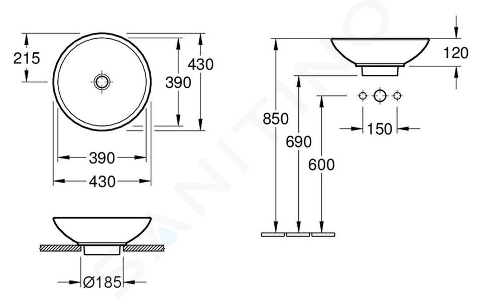 Villeroy & Boch Loop&Friends - Unterbauwaschtish, ohne Hahnloch, Durchschnitt 380 mm, Weiß, mit Überlauf 51440001