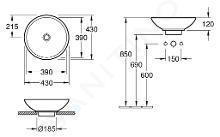 Villeroy & Boch Loop&Friends - Lavabo senza foro, da appoggio, diametro 430 mm, bianco - lavabo, con troppopieno, con Ceramicplus 514400R1